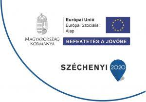 A képen az EU-s projetek kötelező infoblokkja látható. Az alábbi szöveg olvasható Magyarország Kormánya, Európai Unió Befektetés a jövőbe, Széchenyi 2020